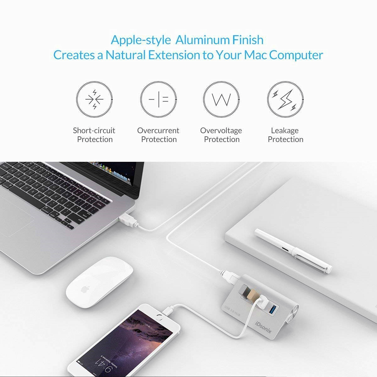 iDsonix 4 Port USB 3.0 Hub Aluminum Desk USB Hub Data Transfer Hubs for Windows, MacBook, Mac Pro/Mini, iMac, XPS, All USB Drives -Silver