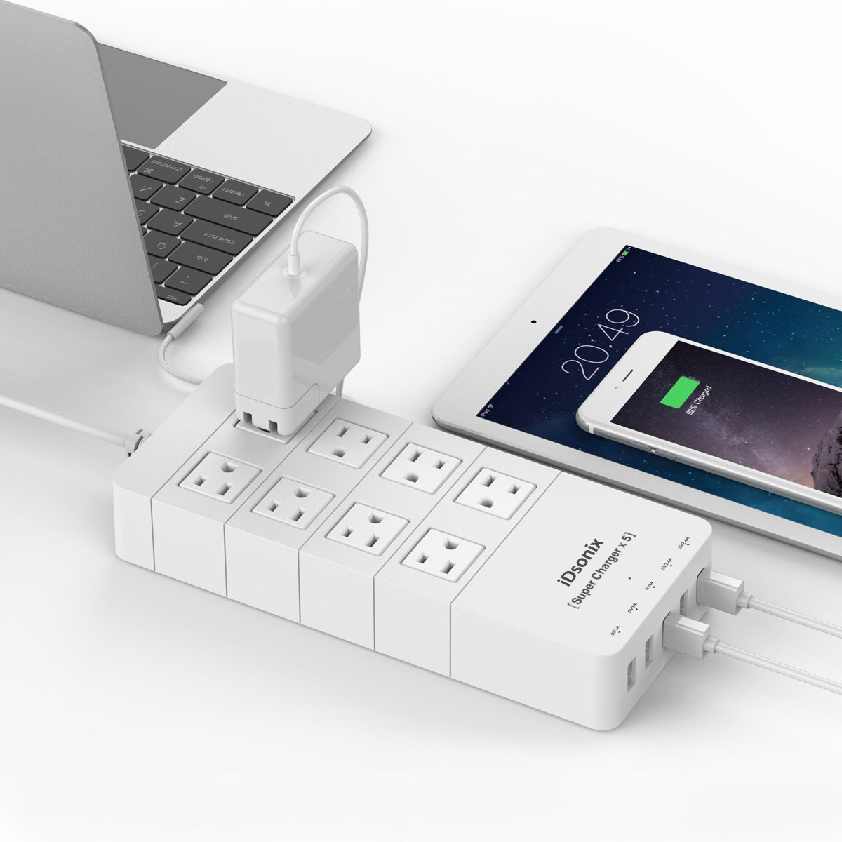 iDsonix 8 Power Socket Outlets with 5V 2.4A 5-Port Smart USB Charging Ports 5ft Cord Built-in Surge Protector and Intelligent Chip to Secure Protections and Automatic Current-Detecting Function